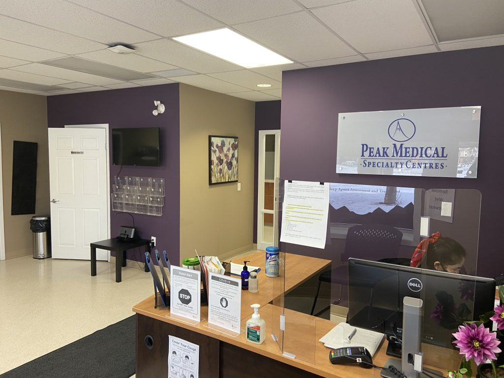 peak sleep clinic red deer front reception desk