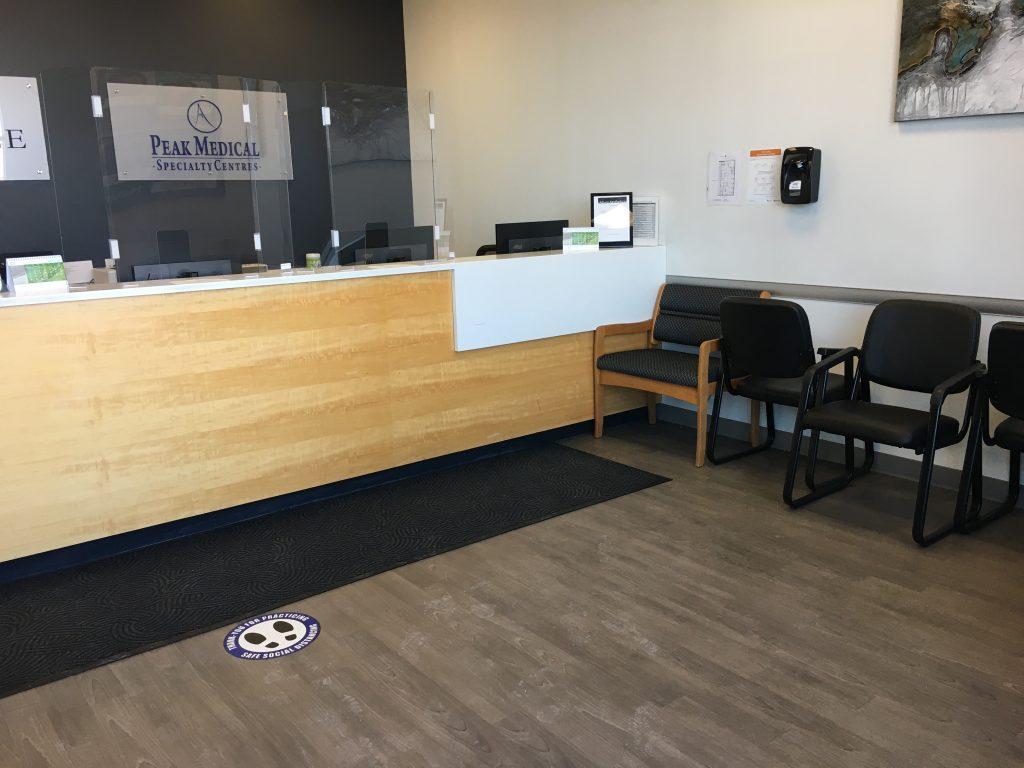 peak sleep clinic strathmore main office reception and wait area