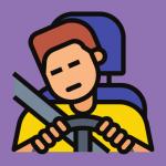 sleepy man driving behind the wheel